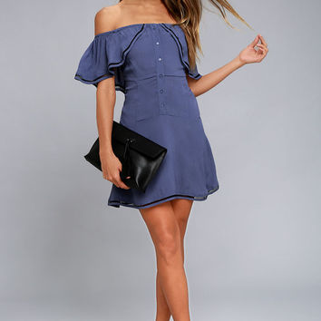 New Friends Colony Bonita Denim Blue Off-the-Shoulder Dress