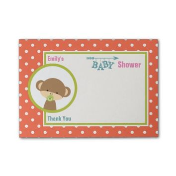 Baby Monkey with a Pacifier Baby Shower Thanks Post-it® Notes