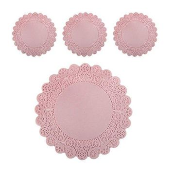 Lace Silicone Cup and Glass Coaster Mats SET of 4 NonSlippery Flexible Kitchen Home Design Mat Pink 43 inches