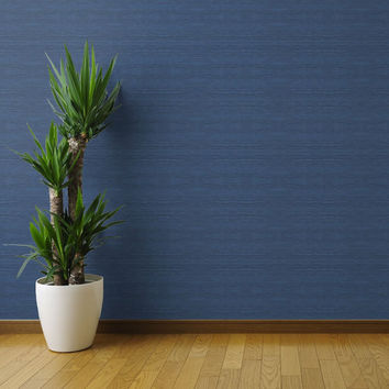 Blue Texture Wallpaper - Grasscloth in Navy by Willow Lane Textiles - Custom Removable Self Adhesive Wallpaper Roll by Spoonflower