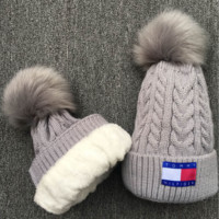 TOMMY HILFIGER Women Men Embroidery Beanies Knit Hat Warm Woolen Hat Grey