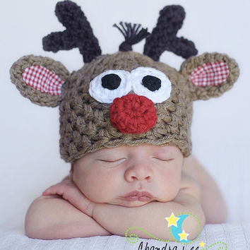 Rudolph, Reindeer, Christmas Hat,Costumes, baby boy hat, baby girl hat, hat for photos, Newborn Photography Prop