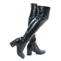 autumn04s Black Pu By Bamboo, Over Knee OTK Pull On High Block Heel Boots