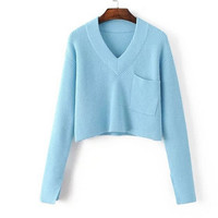 V Neck Solid Color Long Sleeve Cropped Sweater with Pocket Detail