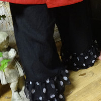 The Beautiful Soft Fiona Linen Pants Bloomers Pantaloons with Polka Dot Ruffles