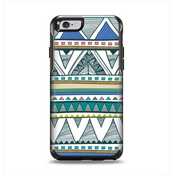 The Abstract Blue and Green Triangle Aztec Apple iPhone 6 Otterbox Symmetry Case Skin Set