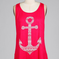 Anchors Away Tank - Pink/White