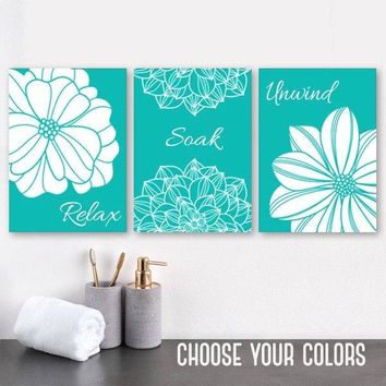 Turquoise BATHROOM WALL Art Canvas or Prints Turquoise Flower Bathroom Wall Decor, Relax Soak Unwind, Bathroom Quotes Wall Decor, Set of 3
