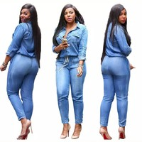 Fashion Bandage Denim Jumpsuit-Blue
