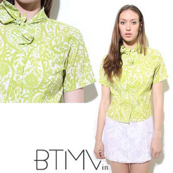 60s LIME GREEN print floral pattern blouse top shirt by BTMVintage
