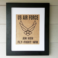 US Air Force Burlap Print - Framed