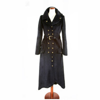 Black Trench Coat Handmade Couture Wool winter Fashion FREE shipping