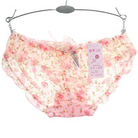 2016 Lovely Lace Sexy Sheer Women Underwear Panties Female Calcinha Underwear Women Heart Pink Floral Women's Butt Lifter Briefs