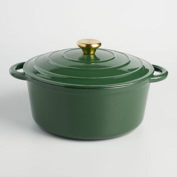 Green Enameled Cast Iron Dutch Oven