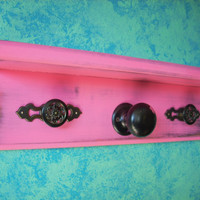 Shabby Hot Pink Wall Shelf Jewelry by Nottooshabbyshelves on Etsy
