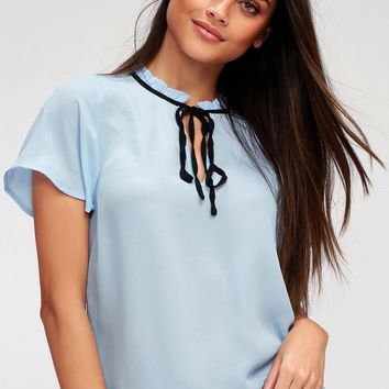 Committed to Love Light Blue Short Sleeve Top