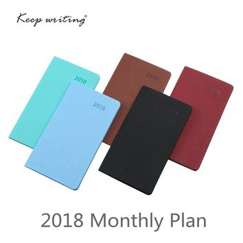 2018 Calendar Month Planner A6 Monthly plan Notebook 26 sheets 100gsm paper stationery agenda Journal notes pocketbook 5 colors