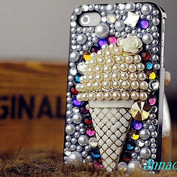 Ice cream iphone case, i phone 4 4s 5 case, iphone4 iphone4s Bling Crystal  Phone 5 case vintage old style  Rhinestone Crystals Cover