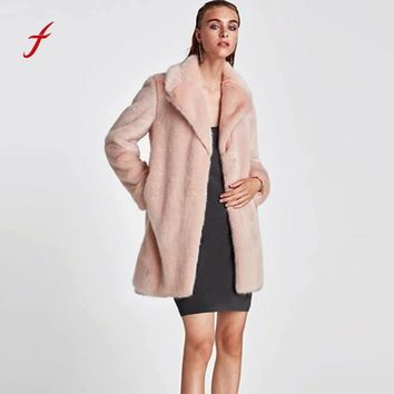 FEITONG Women's Winter Cpat New Ladies Keep Warm Faux Fur coat Jacket Winter Parka Outerwear Fashion Solid Slim Long Overcoat