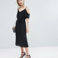 New Look Tie Waist Cold Shoulder Midi Dress at asos.com