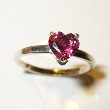 Heart-cut Pink Topaz Solitaire Ring