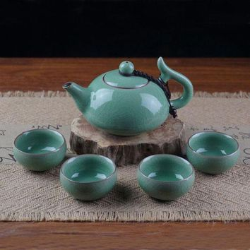 DCCKFS2 Chinese Porcelain Tea Set 1 Pot and 4 Cups Longquan Celadon kung Fu Tea Bowls Christmas Gifts