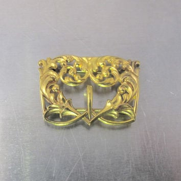 14K Art Nouveau Buckle Brooch, Yellow Gold Antique Belt Buckle Style Jewelry, Ornate Repousse Scroll Design
