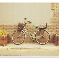 Green Bicycle Photograph - 8x10 print - Beijing China - City street, architecture photo, bike, pastel vintage style - Travel photography