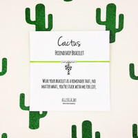 "Cactus Friendship Bracelet with ""No Matter What"" Card 