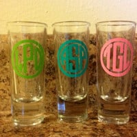 Set of 4 Personalized Monogrammed Shot Glasses. Great Bridesmaid Gift