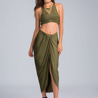 Soft Touch Faux Suede Maxi Skirt