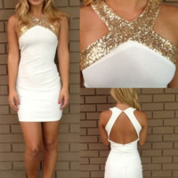 White Homecoming Dress, Satin Scoop Neck Backless Homecoming Dress with Sequins, Short Prom Dress