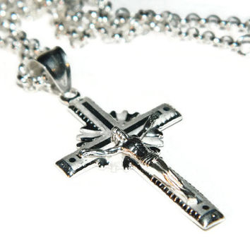 Cross Necklace, Sterling Silver Chain, Crucifix Pendant