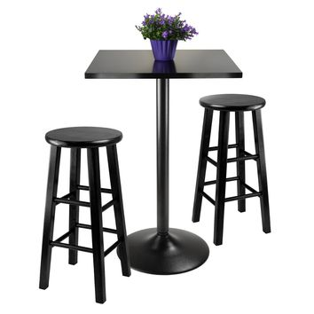 Obsidian 3Pc Counter Height Dining Set, Black Squar Table Top w/ 2 Wood Stools