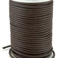 round leather lace brown spool - 2mm x 25 yards