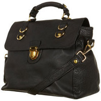 Black Leather Pushlock Satchel - Bags & Purses - Accessories - Topshop