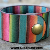Serape Stamped Leather Cuff Bracelet