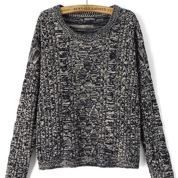 Diamond Pattern Long Sleeve Sweater