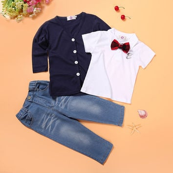Autunm Children's Clothing Sets Long Sleeve Coat + White T-shirts + Jeans 3 pieces Set Toddler Boys Suit Cotton Baby Kids Cothes