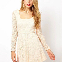 Square Neck Backless Long Sleeve Shirtwaist Lace A-line Pleated Mini Dress