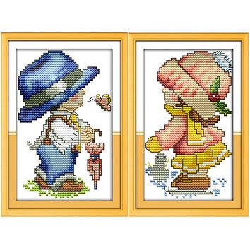 Seasons baby boy and girl Printed Canvas DMC Counted Chinese Cross Stitch Kits printed Cross-stitch set Embroidery Needlework