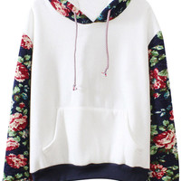 Sweet Floral Print Paneled Patch Pocket Fleece Hoodie Sweater For Women