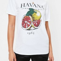 Missguided - White Havana Washed Graphic T Shirt