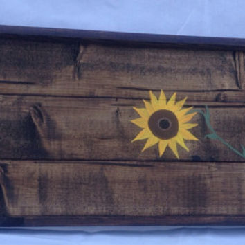 Sunflower rustic serving tray with handles, wedding gift, breakfast in bed