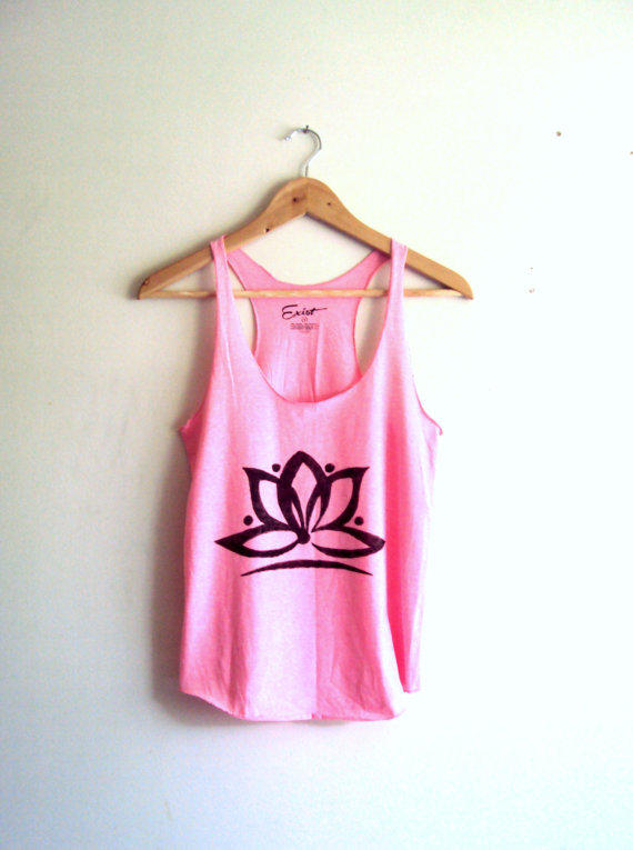 5e0922809 Yoga Top Tank Lotus Flower Pink Cropped from GrahamsBazaar on