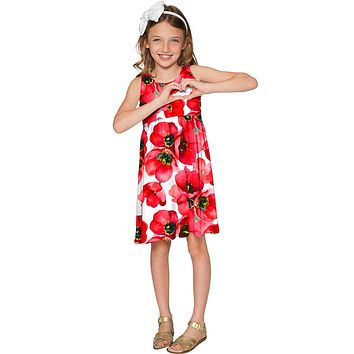 Tulip Salsa Sanibel Empire Waist Red Floral Knit Dress - Girls