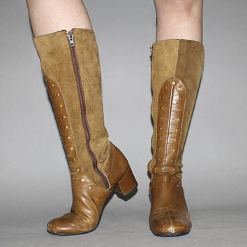 Vintage 60s MOD BOOTS / Caramel Brown Leather + Suede / Groovy GoGo, Below the Knee Boots / Round Toe / Size 7 us, 37.5 eu, 5.5 aus, 4.5 uk