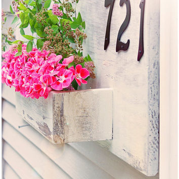 Planter box,  Front Porch, Address Numbers box, House Numbers box, Porch Decor, Rustic