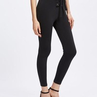 Lace up front skinny jeggings pants
