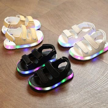 NEW Summer Led Light Shoes Children Sandals Boys Girls Hook & Loop Lighted Sandals Kids Baby Luminous Shoes